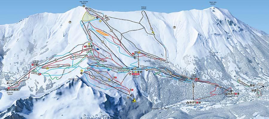 Fransa'nın En İyi Kayak Merkezleri - Les Contamines - Harita